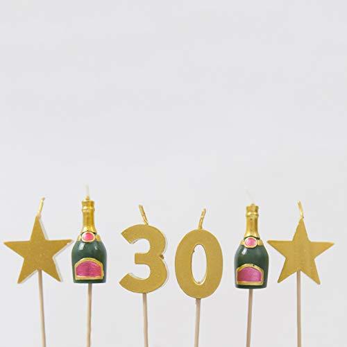 Smiling Faces Velas de Pastel de cumpleaños de hito - 30th