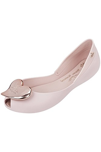 Melissa + Vivienne Westwood VW Queen 17 Rose with Rose Heart Flat Shoes UK 8 (EUR 41/42)