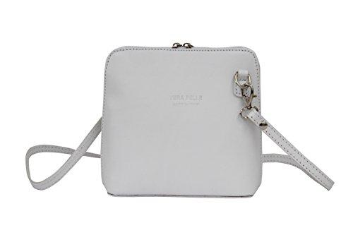 AMBRA Moda - Borsa di pelle a tracolla Donna, borsa piccolo Bianco