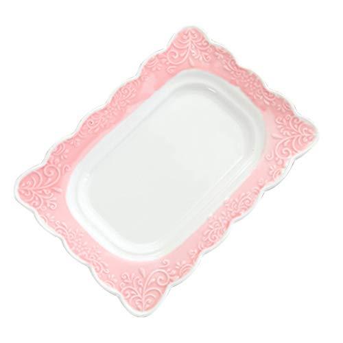 Bestonzon Beurrier en céramique avec couvercle recouvert de porcelaine avec couvercle Rose