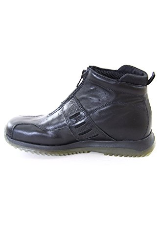 Diesel Women Leather mid Sneakers Zena Black 100% Made in Italy Black
