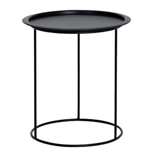 ZHJ-table Eisen Kleine Runde Tischplatte Kann FüR Wohnzimmer Schlafzimmer Studie Schwarz Verschoben Werden -
