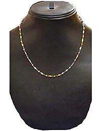 Miya's Emporium - Pure Italian Chain Necklace in Tri-Tone (14k Gold & Rhodium) .925 Sterling Hallmarked Curb Chain for Women & Girls-(16 inch)