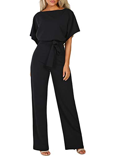 Happy Sailed Damen Langarm O-Ausschnitt Elegant Lang Jumpsuit Overall Hosenanzug Playsuit Romper S-XL, schwarz, Small(EU36-38)
