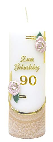 netSells Auswahl Jubiläumskerze/Geburtstagskerze ''Zum 90. Geburtstag'' * Terracotta * m. farbigen Wachsauflagen * (Motiv #003) * Auswahl Motiv + Farbe
