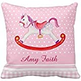 B Lyster shop G353J Rocking Horse Watercolor Pink Pillowcase Home Decoration pillow covers 18 X 18