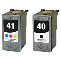 Remanufactured Canon PG-40 Black and CL-41 Colour Twinpack Ink Cartridge for PIXMA iP1200 iP1300 iP1600 iP1700 iP1800 iP2600 iP6210D iP6220D iP1900 iP2200 iP2500 MP150 MP170 MP160 MP180 MP460 MP140 MP190 MP210 MP220 MP450 MP450x MP470 MX300 MX310 Printers, PG40, CL41
