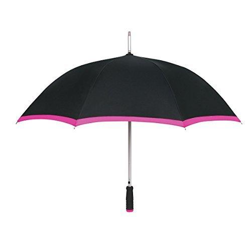 Auto Open 116,8cm Sport Arc Regenschirm mit Trim, schwarz / rosa -