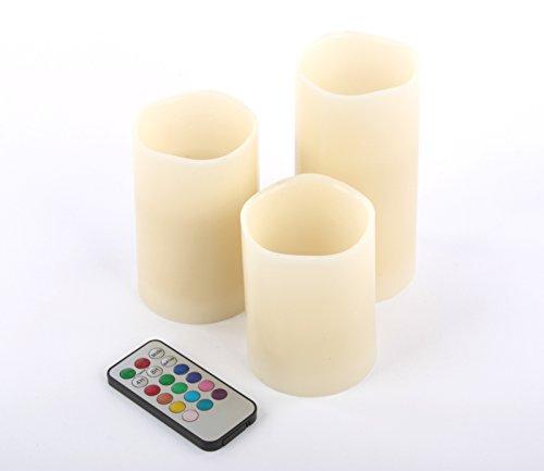 LED-Kerzen 3er-Set Wachskerzen mit Fernbedienung 12 Farben Flamme G 13