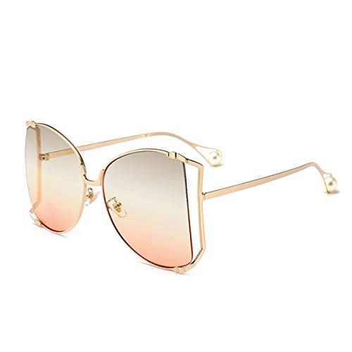 CNDY Sonnenbrille Brille Sonnenbrille Extra große Schachteln Runde Metall-Sonnenbrille Vintage UV-Schutz (Farbe: F)