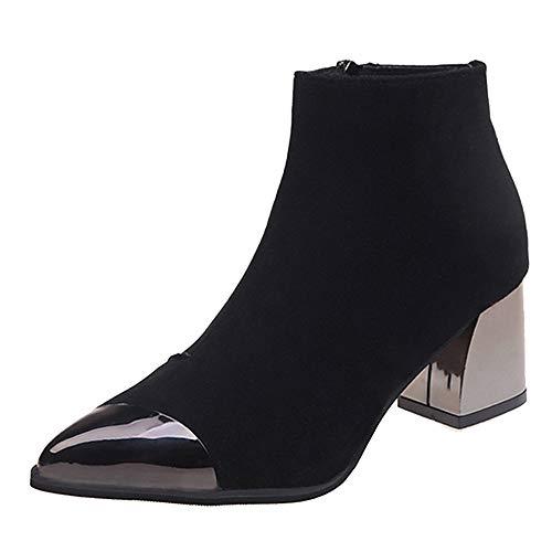 Weant Chaussures Femme Bottes Bottines Mode Femmes Bout Pointu en Daim à  Talons compensés Chaussures Moto 8d0db6ee384