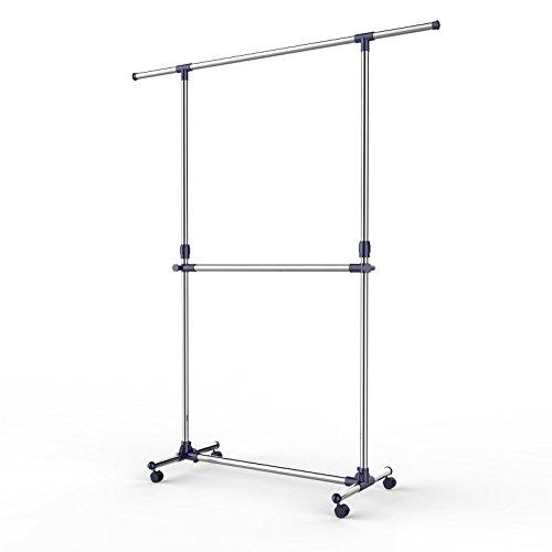 Songmics - Soporte con barra ajustable para colgar prendas y accesorios con barra en el medio modelo LLR41L - Tubos con revestimiento de acero inoxidable