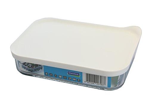 GLASSLOCK (MCRB-113F, 1050ml, Rechteckige Vorratsdose aus Glas - Freezer Typ (Weiß)
