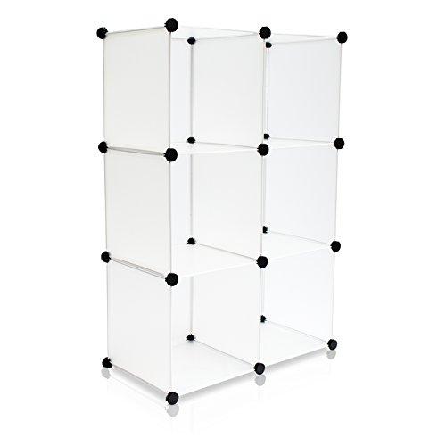 VENKON - Stufenregal Steckschrank Frei Gestaltbares DYI Regalsystem: 6-Modulfächer, satiniert-transparent