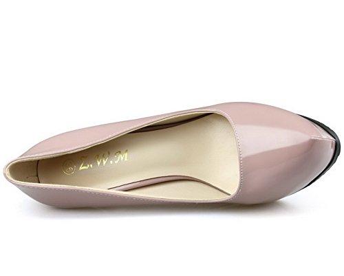AalarDom Femme Pu Cuir Matière Souple Couleur Unie Stylet Chaussures Légeres Rose
