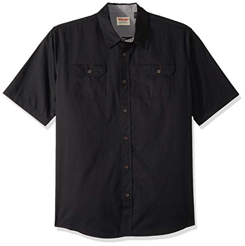 Button-down Woven Dress Shirt (Wrangler Herren Big & Tall Short-Sleeve Classic Woven Shirt Button Down Hemd, Caviar, X-Larget)