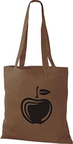 ShirtInStyle Stoffbeutel Baumwolltasche Dein Lieblings Obst und Gemüse Apfel Farbe Weinrot mittelbraun