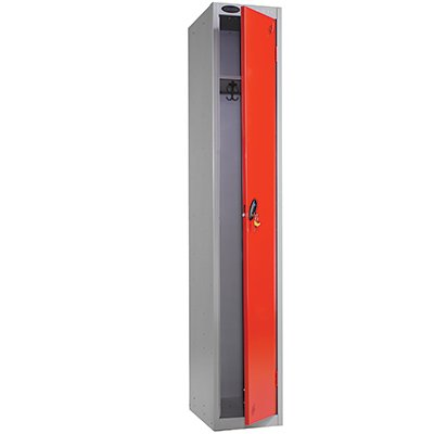Single Compartment 1 Door Metal Storage Locker (Red Door / Silver Body) - Choice of Size & Colour - Ref LK1S/34/RD/SV Test