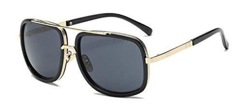 WHAELI Big Frame Sunglasses Men Square Brillen für Frauen Retro Sonnenbrille Schwarz