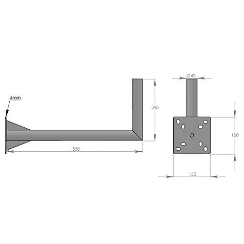 HD-LINE Geländerhalterung 25cm x 55cm Wand & Balkon Montage mit Schelle (horizontal oder vertikal) Halter – Mastroh Sat Antennenmast Balkon Balkonhalterung Satellitenschüssel - 3