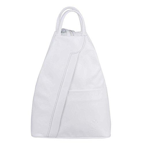 OBC Made in Italy Damen echt Leder Rucksack Lederrucksack Tasche Schultertasche Ledertasche Daypack Backpack Handtasche Nappaleder (Weiß)