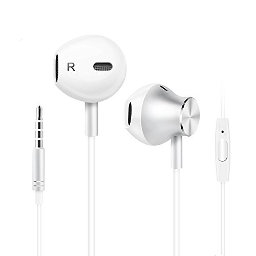Ecouteurs Oreillettes Apple Samsung Intra-auriculaire - SURWELL Écouteurs Casque Filaire Stéréo Anti-bruit Jack 3.5mm avec Microphone Universel pour Apple, iPhone, iPad, iPod, Tablette, Android Smartphones, MP3, MP4 etc. (Blanc) 6739413879876