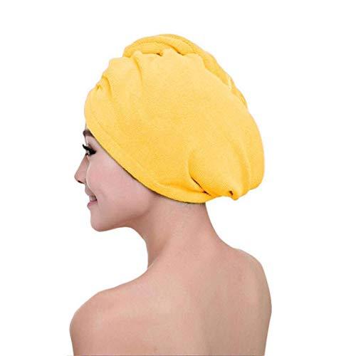 Zleimjab Haushalt Trockenes Haar Handtuch Strapazierfähiges, praktisches, weiches Handtuch mit Knopf zur Wasseraufnahme (Color : Yellow) -