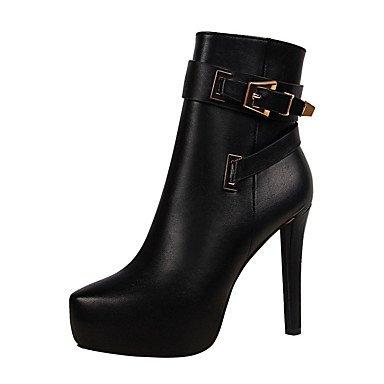 RTRY Chaussures femmes de confort PU Automne Hiver Bottes Bottes de Combat Plateforme talon aiguille Chaussures Bottines / Boots Buckle Fermeture éclair pour partie &AMP; Noir US5.5 / EU36 / UK3.5 / CN35