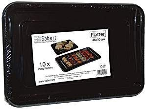 10 x en plastique noir rectangulaire Plats (46 x 30 cm)