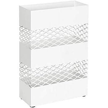 Rettangolare Bianco LUC02WT SONGMICS Porta Ombrelli in Metallo Contenitore per Ombrelli con Vaschetta Scolapioggia e 4 Gancetti 28 x 12 x 41 cm Ritaglio a Grata