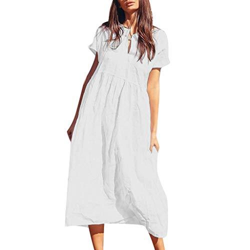 SUCES Damen Einfarbig Beachwear Strandkleid Kurzarm Sommerkleid Tunika Tshirt Kleid Frauen Partykleid Strand Langeskleid für den Sommer Täglichen Kleid Casual Lose