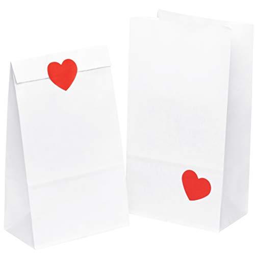 50 Papiertüten Weiß PapiertütchenTütchen 14 x 26 x 8 cm mit 50 Rot Herz Aufkleber klein Papier Kraftpapier tüten Adventskalender Süßigkeiten Geschenk kleine mini keks Papierbeutel Kindergeburtstag (Rote Weiße Und Papier-tüten)