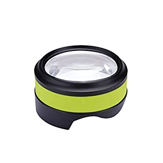 ATG HD Magnifier USB charging, 4 LED Light 5X Optical Lenses Older People Desktop Reading Newspaper Without Changing Battery Without Focusing Strong Light Adjustable Elderly Birthday Gift