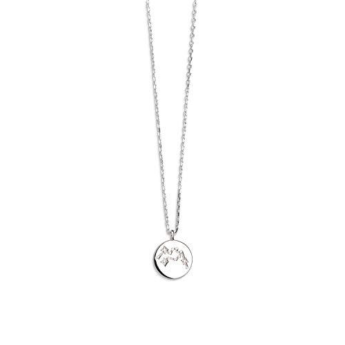 Xenox Damen-Halskette Sernzeichen Rising Sign 925er Sterlingsilber mit Zirkonia 45 cm (Wassermann)