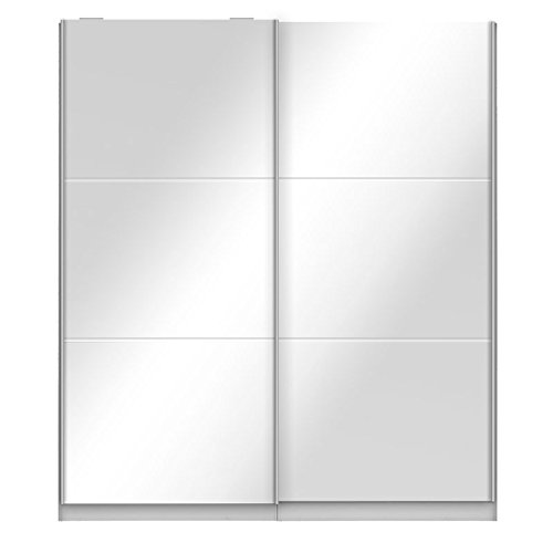 Tousmesmeubles Armoire Dressing Portes Miroir - Joyce - L 201 x l 61 x H 232 - Neuf