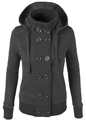 cfzsyyw ,Womens Warm Winter Coats Hood Double Breasted Jackets Outwear