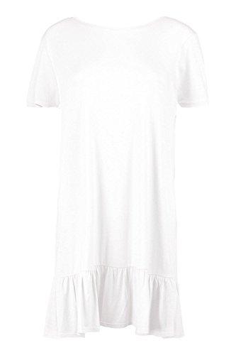 Damen Weiß Alana Etuikleid Mit Verlängertem Saum Und Raffiniertem Rücken Weiß