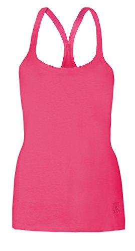 Damen-Westen, Rückenausschnitt, für Sommer, Strand und Oberteile von Brody & Co ® Baumwolle Fitness Tanz Rosa - Pink