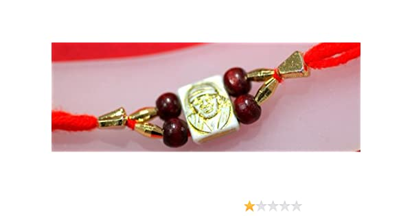 Rakhi Bracelet - Red Thread with Gold & Maroon Beads and Sai Baba Photo (Pack of 6)