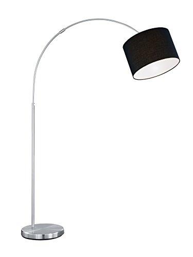 lightling modern Bogenleuchte in nickel matt, Stoffschirm schwarz, 1 x E27 max. 60W, ø 30 cm, Höhe: 150-215 cm