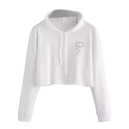 Frauen Cute Cloud Print Langarm Casual Hoodie Pullover -