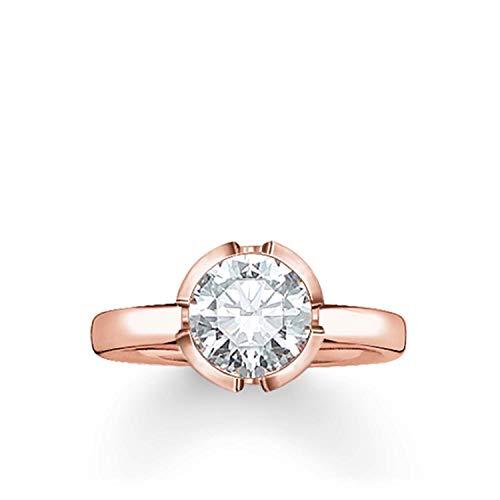 Thomas Sabo Damen-Ring Silber vergoldet Zirkonia weiß Gr. 52 (16.6) - TR2034-416-14-52