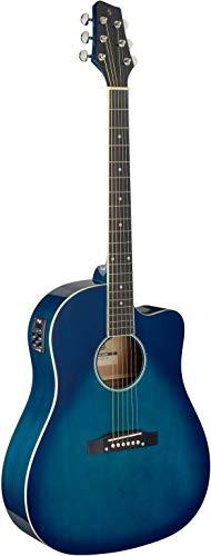 Stagg Cutaway - Guitarra acústica, eléctrica, color azul transparente