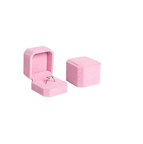 AnaZoz Joyería de Moda Caja de Joyas Caja Regalo Terciopelo Caja del Anillo Cuadrada Caja de Joyas Rosa