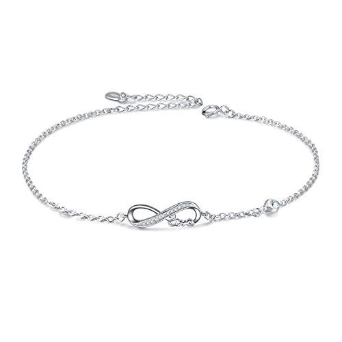 Infinity Armband Damen Sterling Silber 925 Unendlichkeitszeichen Armband Verstellbar Armkette mit Kristallen von Swarovski