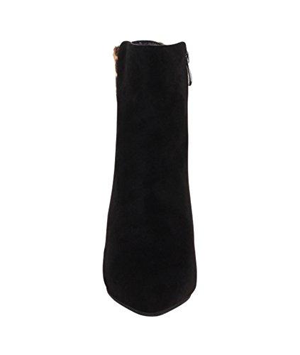 Damen Leoparden Stiefeletten mit Absatz Gefüttert Ankle Boots Winter Warm Schwarz 4121