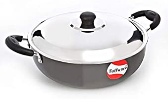 TUFFWARE HARD ANODISED DEEP KADAI WITH LID,2.5LTR,Black