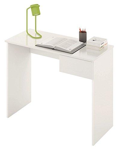 LIQUIDATODO ® - Mesa de estudio moderna y barata con cajón en color blanco alto brillo