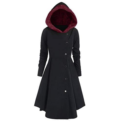 iHENGH Damen Herbst Winter Bequem Mantel Lässig Mode Jacke Frauen Plus Size Asymmetrische Fleece Mit Kapuze Einreiher Lange Drap Buttons Coat(Schwarz, XL)