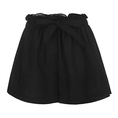 Shorts Damen Sommer,WQIANGHZI Lässig Einfarbig Elastisch Mittlere Taille Hotpants Sommer Gurt Falten Bermuda Kurze Hose Jersey Walking Breites Bein Shorts -